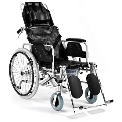 Wózek inwalidzki aluminiowy stabilizujący plecy i głowę z funkcją toaletową FS 654 LGC