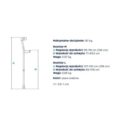 Kula inwalidzka łokciowa z uchylną obejmą regulowana dwustopniowo FS933L